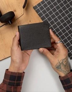 Кожаный бумажник с перфорацией Systvm - Черный