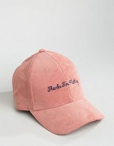Розовая вельветовая бейсболка с вышивкой ASOS - Розовый