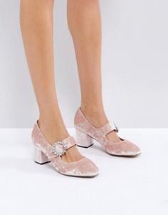 Туфли на среднем каблуке с пряжкой и камнями ASOS SUNSHINE - Розовый