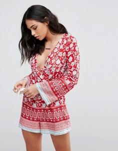 Ромпер с цветочным принтом Parisian - Красный