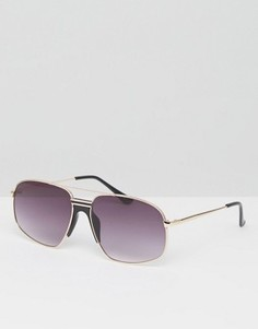 Квадратные солнцезащитные очки-авиаторы в металлической оправе ASOS - Золотой