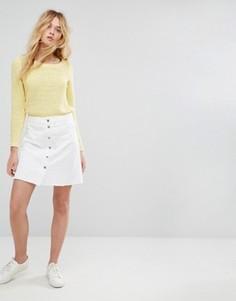 Джинсовая юбка на пуговицах с необработанным подолом Only - Белый
