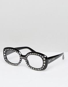 Квадратные очки в толстой роговой оправе с прозрачными стеклами ASOS - Черный