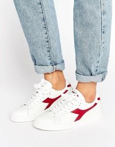 Белые низкие кроссовки с красной отделкой Diadora Game - Белый