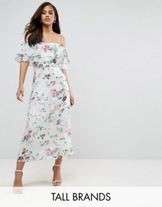 Платье миди с открытыми плечами и цветочным принтом Y.A.S Studio Tall Jessy - Мульти