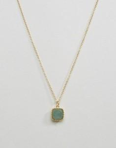 Ожерелье с подвеской из полудрагоценного камня Pieces Karina - Золотой