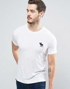 Белая обтягивающая футболка с большим логотипом Abercrombie & Fitch - Белый