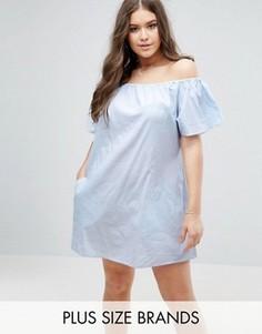 Платье в полоску с открытыми плечами и карманами Boohoo Plus - Синий