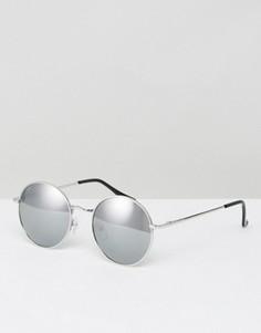 Круглые солнцезащитные очки в стиле 90-х с серебристыми зеркальными стеклами ASOS - Серебряный