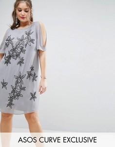 Свободное платье с цветочной отделкой и вырезами на плечах ASOS CURVE - Серый