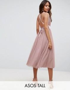 Платье миди для выпускного з тюля с лентой на завязке ASOS TALL - Розовый