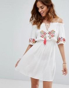 Пляжное платье с открытыми плечами и вышивкой Floozie - Мульти