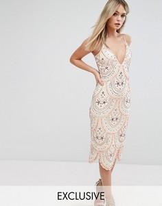 Платье миди на бретельках и со сплошной декоративной отделкой Starlet - Розовый