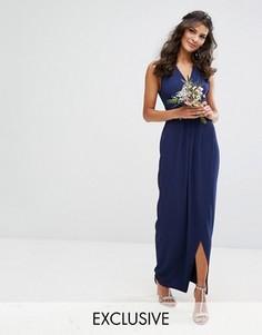 Платье макси с запахом TFNC - Темно-синий