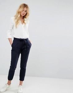 Укороченные брюки с завязывающимся поясом J.D.Y - Темно-синий JDY