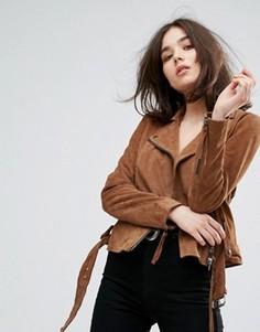 Замшевая байкерская куртка с поясом Muubaa Warren - Коричневый