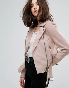 Замшевая байкерская куртка с поясом Muubaa Warren - Розовый