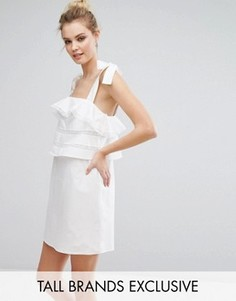 Платье на тонких бретельках-завязках с оборками Fashion Union Tall - Белый