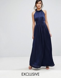 Платье макси с оборкой и завязкой на шее Little Mistress - Темно-синий