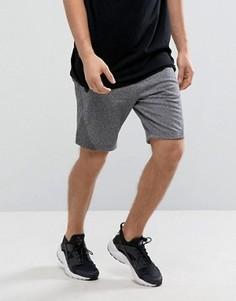 Эластичные спортивные меланжевые шорты темно-серого цвета Abercrombie & Fitch - Серый