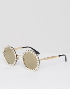 Большие круглые солнцезащитные очки с декоративной отделкой в виде маргариток Dolce & Gabbana - Золотой