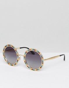 Большие круглые солнцезащитные очки в позолоченной оправе со стразами Dolce & Gabbana - Золотой