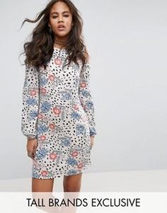 Платье мини в горошек с открытыми плечами и цветочным принтом Glamorous Tall - Мульти