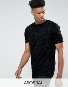 Длинная футболка с леопардовым принтом ASOS TALL - Черный