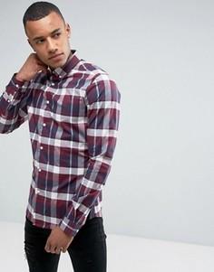 Узкая эластичная рубашка в клетку с длинными рукавами Burton Menswear - Темно-синий