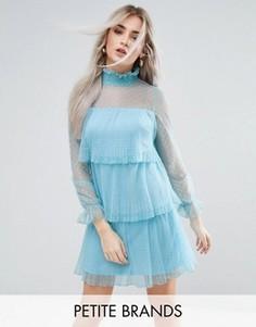 Платье мини из тюля с оборками Boohoo Petite - Синий