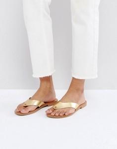 Кожаные сандалии ASOS FIREWORK - Золотой