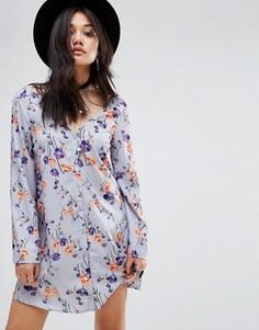 Свободное платье на пуговицах с длинными рукавами Glamorous - Мульти