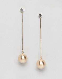 Серьги-подвески с массивными шариками Ashiana - Золотой