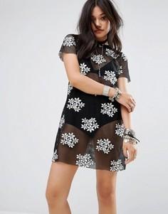 Платье-футболка с цветочной вышивкой Glamorous - Черный