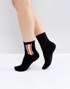 Полупрозрачные полосатые носки ASOS - Черный