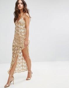 Кружевное платье металлик с асимметричным краем Love Triangle - Золотой