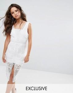 Кружевное платье миди с разрезом по центру Love Triangle - Белый