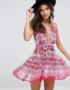 Розовое пляжное шифоновое платье с узелком на талии ASOS - Мульти