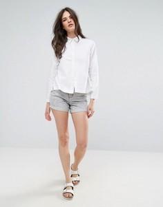 Джинсовые шорты в винтажном стиле с эффектом кислотной стирки Waven Inga - Серый