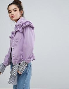 Джинсовая куртка с рюшами H! By Henry Holland - Фиолетовый