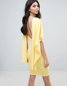 Платье миди с оборками на рукавах City Goddess - Желтый