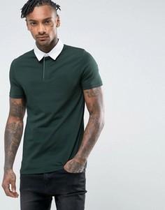 Зеленая обтягивающая футболка-поло ASOS - Зеленый