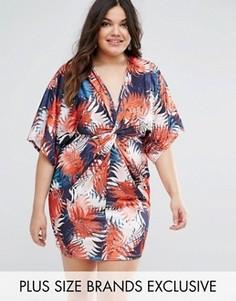Платье с глубоким вырезом и тропическим принтом Missguided Plus - Мульти