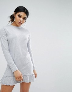 Свободное платье с длинными рукавами и оборкой Daisy Street - Серый