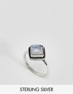 Серебряное кольцо с лунным камнем и стразами Rock N Rose - Серебряный