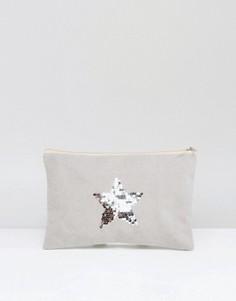 Серый выбеленный клатч с серебристой звездой South Beach - Серый