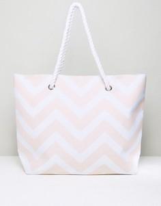 Розовая пляжная сумка с принтом шеврон South Beach - Розовый