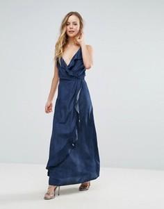 Платье макси с оборками Liquorish - Темно-синий