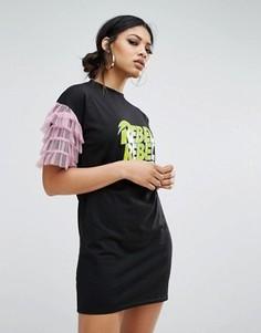 Платье-футболка с сетчатой отделкой на рукавах и принтом Rebel Daisy Street - Черный