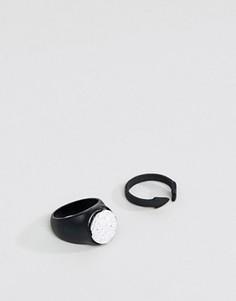 2 черных кольца (блестящее и матовое) DesignB эксклюзивно для ASOS - Черный